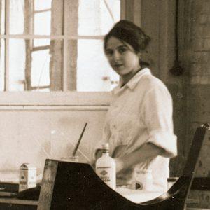 Eva Hesse in Textile Factory Studio, Kettwig Germany 1964. Photo