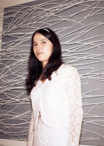 """Eva Hesse at the opening reception for """"Eccentric Abstraction"""